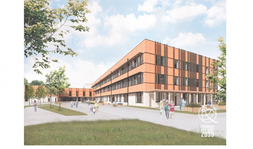 The image features an ertists impression of the new school building. It is three floors tall and clad in a brown material. There are lots of windows and the far end of the building jutts out to create an 'L' shape